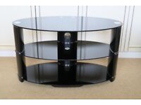 """Oval Glass TV Stand, Black High Gloss, John Lewis 850 for TV's up to 40"""""""