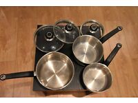 Morphy Richards pour and drain 5 piece pan set used by vegetarian