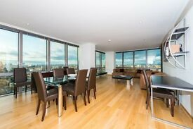 1270 sq ft! SPACIOUS 2 BEDROOM APARTMENT - CANARY WHARF *SECURE PARKING* FULLY FURNISHED! 24TH FLOOR