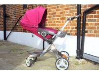 Stokke Xplory V3 Pushchair Purple Good condition Rain cover And Bag