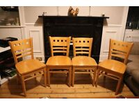 Set of 4 Solid Pine Dining Chairs