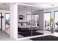 ★★ BRAND NEW 2 DOOR BERLIN SLIDING WARDROBE★★ FULLY MIRROR ★★WITH SHELVES AND HANGING RAILS
