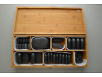 39 pcs Basalt HOT STONES Professional MASSAGE KIT with Bamboo WOODEN BOX Case, Spa Salon
