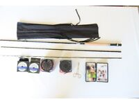 ADDER LUREFLASH Beginners Trout Fly Fishing Kit with r, reels, flies and landing net