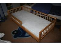 Ikea Gulliver Toddler/Childrens Bed with Guardrail (light wood colour)