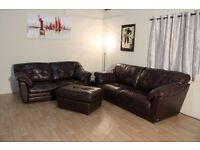 Ex-display Sisi Italia Bruno dark brown leather 3+2 seater sofas and footstool