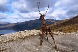 Majestic metal tools stag sculpture