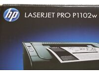 HP laserjet pro p1102w wireless printer with all the software disc and mains cable, ( 07971266874 )