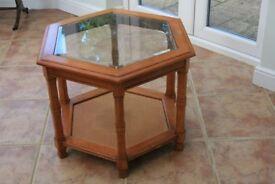 Glass top Table. Hexagonal. Light wood