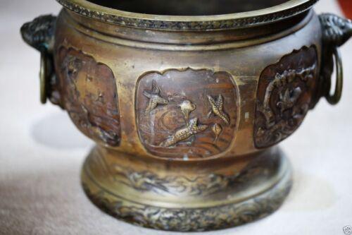 A036 antique estate Japanese carved brass vases.  20 Century