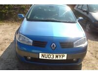 Renault Megane dynamique 1390cc petrol, 2003-03-plate, 133,000 miles, new mot on purchase
