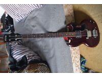 Vintage electric Bass Guitar Red Avon Rose Morris