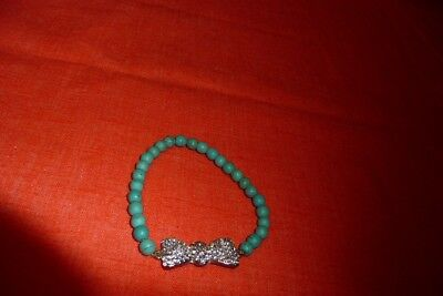 Clear Diamond Looking Stoned Bow Teal Small Beads Stretch Elastic Bracelet NWOT Clear Small Stone Bracelet