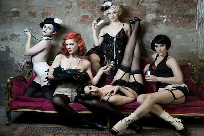 Burlesque Outfits For Women (Five Hot Sexy Women in Burlesque Style Outfits Photo Art Print Poster 18x12)