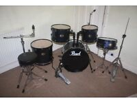 Pearl Target Blue 5 Piece Full Drum Kit (18in Bass) with all Stands + Cymbal Set + Stool