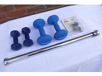 Fitness Training Dumbell Weights & Chinning Bar