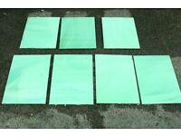 Genuine, original vintage green swirl Vitrolite glass tiles 7 in total 2 sizes