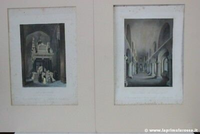 2 INCISIONI INGLESI ANTICHE OLD THE NORMAN CHAPPEL TOMB OF QUEEN ELIZABETH PRINT