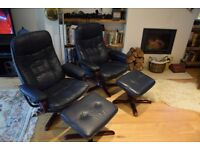 Daneway Mobelteam Navy blue/Mahogany leather recliners, similar to Stressless
