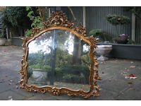 Ornate Large Gilt French Style Over Mantle Mirror