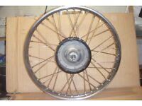 "BSA / Triumph Rebuilt 21"" Front wheel, (Stainless rim and spokes)."