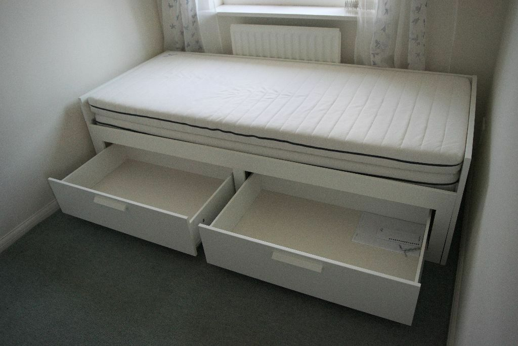 Ikea Brimnes Day Bed With 2 Drawers And 2 Mattresses In