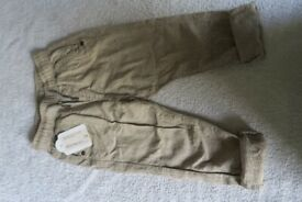 BRAND NEW Boys Next beige Trousers Age 2-3 yrs
