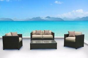 FREE Delivery in Montreal! Paris Outdoor Patio Wicker Sunbrella Conversation Sofa Set by Cieux! Brand New!