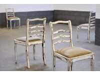 Set of 4 Vintage Retro Oak Wood Dining Chairs Rustic Shabby Chic Recovered Pads