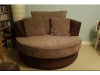 Round Snuggle Chair sofa - Mink & chocolate brown