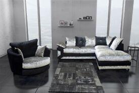 Best Selling Brand !!!! Brand New Stylish Dino Crush Velvet Corner or 3 and 2 sofa Black and Silver