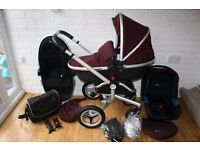 Black / Aubergine Silver Cross Surf 2 pram travel system with car seat 3 in 1 CAN POST