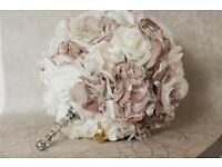 Handmade Fabric Wedding Bouquets - fabric, brooches and foam
