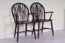 2 X CARVER WHEELBACK CHAIRS SOLID OAK STURDY SOLID SECURE - CAN DELIVER