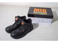 Mens Leather Steel Toe Cap Safety Work Boots Size 6 (EU39)