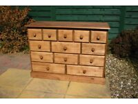 Solid Pine Merchant Chest of 13 Drawers