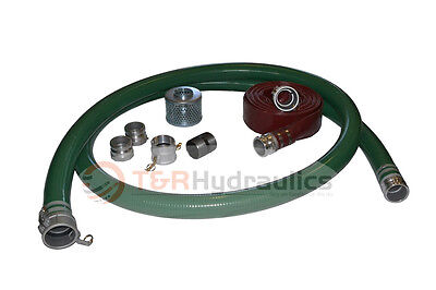 2 Green Water Suction Trash Pump Honda Kit W25 Red Discharge Hose