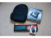 New unused laptop accessories - bag, stand, k/bd, mouse