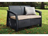 Keter Corfu 2 Seater Rattan Sofa Outdoor Garden Furniture!