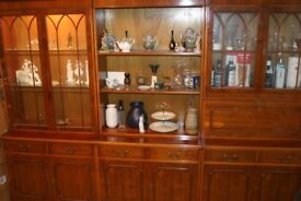 Yew Triple Display & Cocktail Cabinet