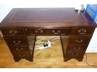 EXCELLENT QUALITY GILT TOOLED OXBLOOD LEATHER TOPPED DESK AND OXBLOOD LEATHER CHAIR