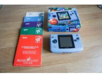 Neo Geo Pocket Color Handheld System in Blue, boxed in excellent condition