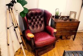 Vintage Red Wingback Chesterfield Armchair