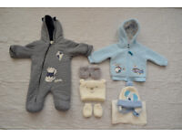 Baby boy snowsuit + hooded coat size 0 - 3 m