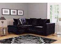 BRAND NEW DYLAN CRUSHED VELVET CORNER SOFA IN SILVER -- ALSO AVAILABLE IN JUMBO CORD --
