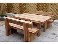 Oak table and bench railway sleeper bench set garden furniture set Christmas Present gift ideas