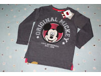 Mickey Mouse Boys Long Sleeve Top, Brand NEW with tags, 3-4 Years.