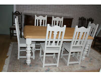 beautiful shabby chic 6ft oak table and six chairs