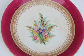Beautiful Antique Royal Worcester Handpainted Plate Flowers 1876? Cabinet Plate Vintage Display