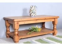 DELIVERY OPTIONS - 4 FT SOLID PINE COFFEE TABLE HEAVY & CHUNKY WELL MADE WAXED